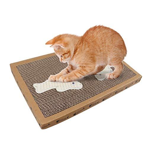Nobleza – Rascador de cartón para Gatos. Alfombrilla con Catnip. (38.2 * 24.5 * 4) cm