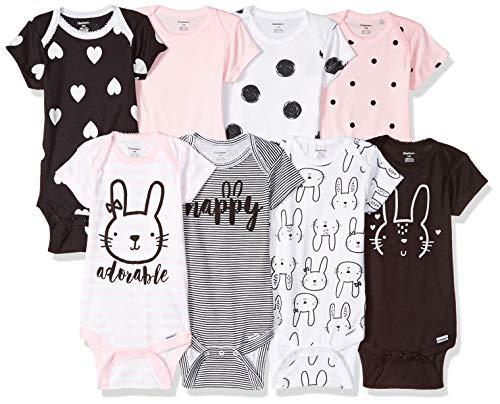 Gerber Baby 8-Pack Short Sleeve Onesies Bodysuits, Pink...