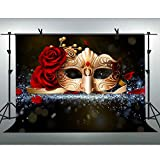 FLASIY Golden Mask Photography Background 10x7ft Rose Flower Masquerade Backdrop for Birthday Dance Party Photo Studio Shooting Props LYAY185