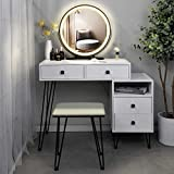 Table Set Makeup Vanity Dressing Table with 3 Colors Lighted Mirror, 1 Storage Cabinet & 2 Drawers, Dressing Makeup Table with Cushioned Stool, for Girl, Women, Dresser Desk for Bedroom, White
