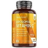 Vitamine C Liposomale 1000 mg - 180 Gélules (3 mois) - Vegan Ingrédients d'Origine Naturelle - Avec Extraits d'Églantier (Cynorrhodon) – Testé en Laboratoire - WeightWorld