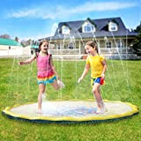 Pellor Sprinkler Water Pad,Multi-Size Kids Outdoor Thickening PVC Water Spray Pad Summer Outdoor Patio Sprinkler Pad (170cm)