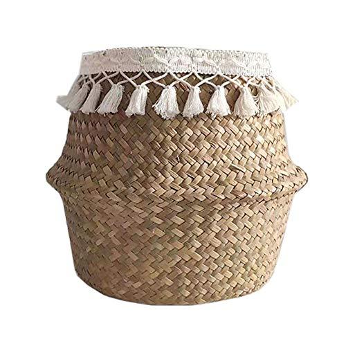 Yuciya Naturkorb Seegras Ablagekorb Blumentopf Gewebt Wäschekorb für Aufbewahrung, Wäsche, Picknick, Blumentopf und Strandtasche