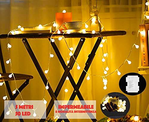 JP-LED Catena Luminosa Di Luci Led 5M Batteriafilo 50 lampadine 5M e ImpermeabileLuci Da Esterno E Interno Portatili Con 8 Modalit Flash Per Giardino,Casa, Feste, Natale, Matrimonio, Decorazioni