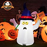 Tangkula 5 Ft Halloween Inflatable Ghost with Pumpkins, Blow Up Ghost with Boo Flag & Pumpkin Bag, Internally LED Bulb 190T Polyester Cloth & Waterproof Fan, Multipurpose Decorations