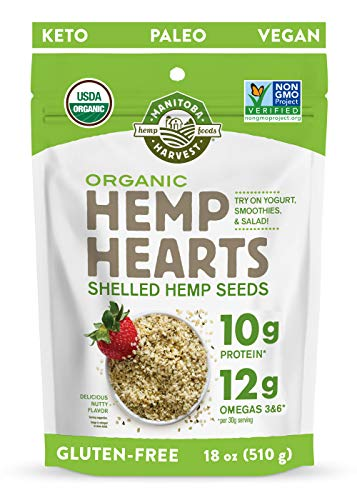 Manitoba Harvest Organic Hemp Hearts Shelled Hemp Seeds, 18oz; 10g Plant-Based Protein & 12g Omegas per Serving, Whole 30 Approved, Vegan, Keto, Paleo, Non-GMO, Gluten Free
