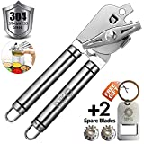 BENSEAO Can Opener Manual Can Opener Smooth Edge Can Openers for Seniors and Arthritis Heavy Duty with Ergonomic Handle Ultra Sharp Safe Ideal for Commercial Beer Bottle Opener (2x8)