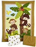 Bedtime Originals Curly Tails Monkey 3-Piece Baby Crib Bedding Set, Brown