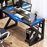 Computer Desk Glass Top Metal Frame, 39.4' Home Office Desks & Workstations- Modern Office Writing Gaming Study Work Glass Computer Table Desk for Home Office (39.4, Black-K)