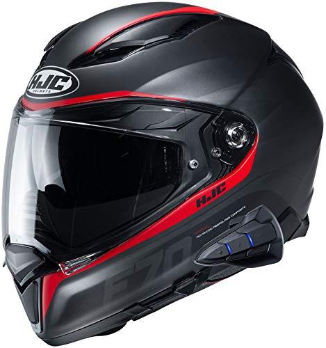 HJC F70 Full Face Motorcycle Helmet with Smart HJC 10B Bluetooth Headset Feron MC1SF Medium