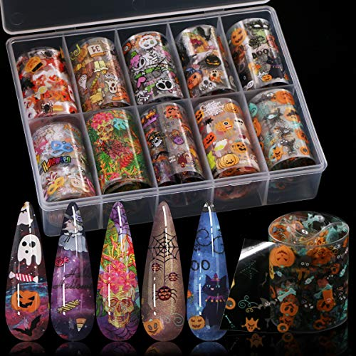 10 Colors Halloween Nail Foil Transfer Sticker, Kissbuty Halloween Nail Art Stickers Tips Wraps Foil Transfer Adhesive Glitters Acrylic DIY Nail Decoration (Halloween Pumpkin Skull)