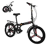 HUUH Folding Bikes for Adults,20' 7 Speed City Folding Compact Bike Bicycle Urban Commuter【Ship from USA】 (Black)