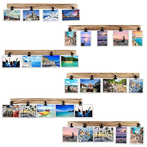 Aiyome 6 Wooden Wall Hanging Photo Frames With 27 Clips,...