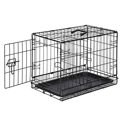 AmazonBasics Single-Door & Double-Door Folding Metal Dog or Pet Crate Kennel with Tray, 22 x 13 x 16 Inches