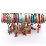 Bracelet D'amitié Tissé,12 Pièces à la Main au Népal Tressé Bracelets...