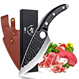 Boning Knife Drop Point Blade Outdoor Camping Knife Forged Fishing Fillet Butcher Knives Multipurpose Kitchen Cooking Meat Vegetable Cleaver w/Leather Sheath and Full Tang Curved Handle
