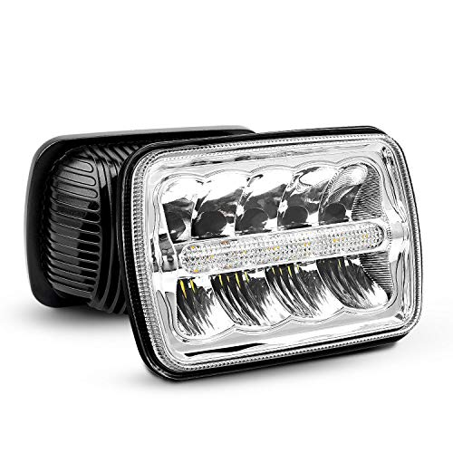 LED Headlights Nilight 7x6 Rectangle LED Headlights 2PCS 45W Hi/Lo Beam w/DRL for Jeep Wrangler YJ Cherokee XJ Trucks 4X4 Offroad Headlamp Replacement, 2 Years Warranty