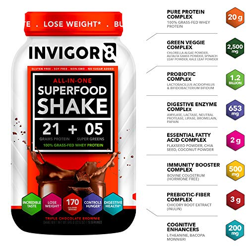 INVIGOR8 Superfood Shake(4 Pack Chocolate) Gluten-Free Non GMO Meal Replacement Grass-Fed Whey Protein Shake with Probiotics and Omega 3 3