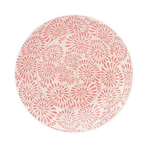Piatto piano Capri Girandola Rossa in stoneware, da 26,5 cm Bianco con decori rossi