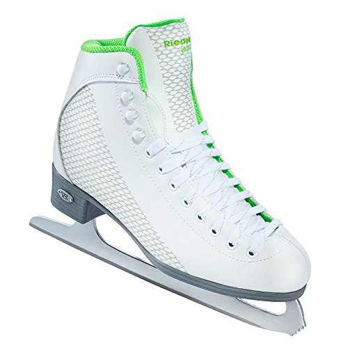 Riedell Skates - 113 Sparkle - Recreational Figure Ice Skates with Stainless Steel Spiral Blade | White and Lime | Size 4