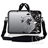 LSS 14.1 inch Laptop Sleeve Bag Carrying Case Pouch w/Handle & Adjustable Shoulder Strap for 14' 14.1' Apple MacBook, GW, Acer, Asus, Dell, Hp, Sony, Toshiba, Gray Black Swirl Floral