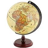 Exerz Globe Antique 25cm avec Une Base en Bois - Globe terrestre tournant...