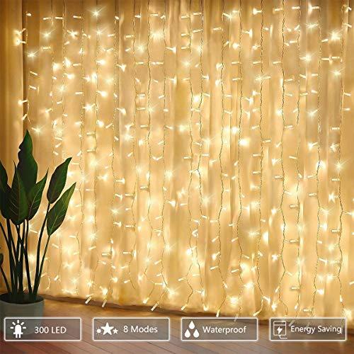 300 luci per tende a LED, 3 x 3 m con luce gialla calda, 8 modalit, impermeabile IP44 per interni ed esterni, stanza parziale, festa di matrimonio, gazebo da giardino, decorazioni natalizie
