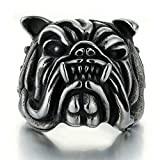 Bulldog Ring for Men, Vintage Gothic Pitbull Bull Dog Pug Dog Head Biker Ring, Viking Animal Rings Jewelry Pet Lovers Gifts (12)