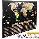 Carte du Monde à Gratter XXL [ Edition Premium 2019 ] – Carte du Monde Murale (82,5 x 59,5 cm) + Accessoires et tube...