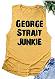 Country Music Tank Shirt George Strait Junkie Fans Tees for Women Juniors Letter Print Rodeo Muscle Tank Tops (Medium, Yellow)