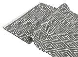 Chardin home 100% cotton Diamond Rug Fully reversible - Mat size 21''x34'', Machine washable, Light Gray & White