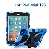 ACEGUARDER iPad Mini Case, Full Body Protective Premium Soft Silicone Cover with Adjustable Kickstand for iPad Mini 1 2 3 (Navy/Black)