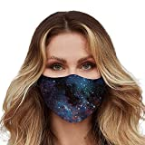 Washable Face Mask with Adjustable Ear Loops & Nose Wire - 3 Layers, Made in USA (Galaxy)