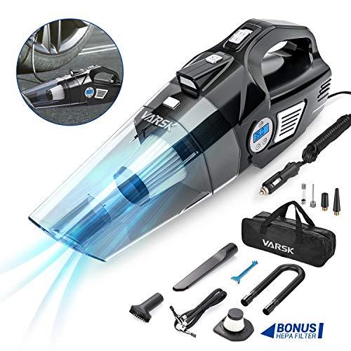 VARSK 4-in-1 Car Vacuum Cleaner, Tire Inflator Portable Air Compressor with Digital Tire Pressure...