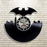 Kovides DC Comics Batman Wall Art Vintage Wall Clock Party Supplies Decoration DC Comics Art Retro Vinyl Record Clock Batman Wall Hangings Batman Decals Gift Idea Batman LP Clock