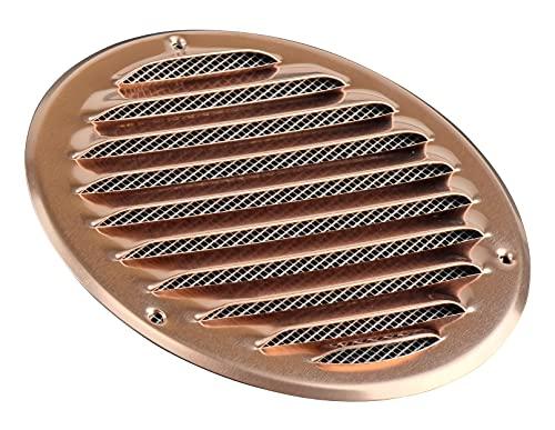 Griglia di ventilazione rotonda in rame da 125 mm con protezione dagli insetti, griglia di aspirazione dell'aria di scarico