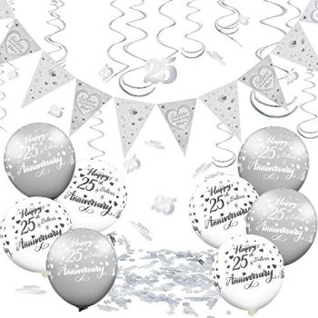 25 Pieces 25th Anniversary Decorations Set Silver Anniversary Bunting Happy Silver 25 Anniversary Balloons Hanging Swirls, Silver Confetti for 25th Silver Wedding Anniversary Valentine Party Supplies