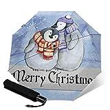 WALL-8-CC Happy Christmas Penguin - Paraguas de invierno con diseño de pingüino