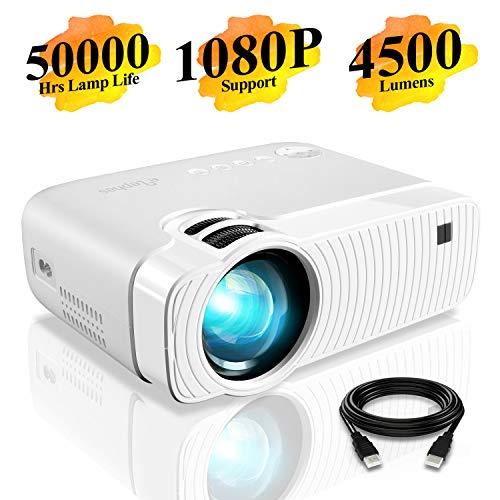 Elephas Mini Proiettore Portatile 4500 Lumen, Videoproiettore Full HD 1080P, Videoproiettore LED con Lampadina da 50000...