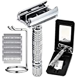 Safety Razor Double Edge, Butterfly Open Razor 7 Piece Traveling Kit for Men & Women Small & Discreet Includes Razor 5 Replacement Blades Stand & Travel Case with Mirror By Elkaline