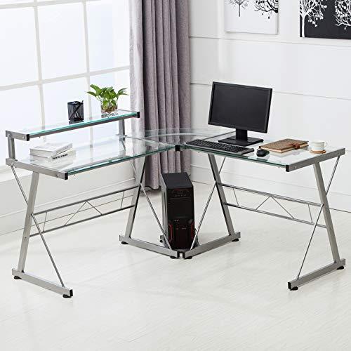 Mecor L-Shaped Corner Computer Desk with Shelf, Glass Laptop Home...