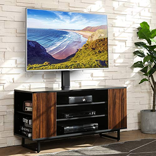 FITUEYES Wood TV Stand Media Console with Mount Base for 32 to 70 inches Flat Screen Industrial Metal Leg TW310601MB