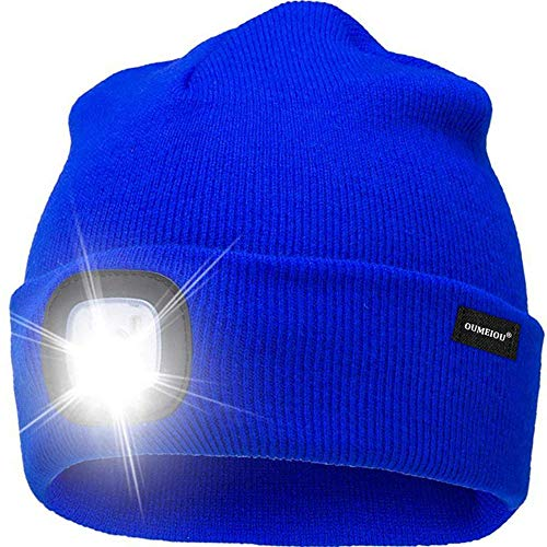 Oumeiou New Warm Bright LED Lighted Beanie Cap Unisex Rechargeable Headlamp Hat Multi-Color (Blue)