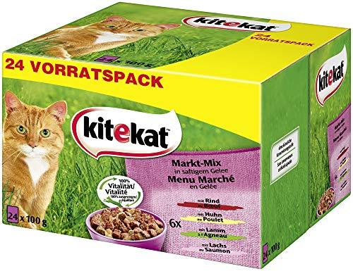 Kitekat Katzenfutter Nassfutter Markt Mix in Gelee, 48 Portionsbeutel (48 x...