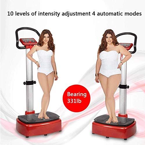 Lamyanran Professional Vibration Platform Exercise Machine, Intelligent Vitality Aerobic Health Exercise Machine, Passive Vibration Fat Reduction Machine, Exercise Equipment (Size : Black red) 5