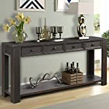 P PURLOVE Console Table for Entryway Hallway Easy Assembly 64' Long Sofa Table with Drawers and Bottom Shelf (Retro Black)