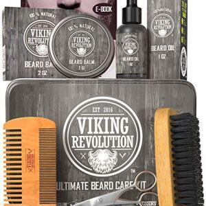 Viking Revolution Beard Care Kit for Men - Ultimate Beard Grooming Kit includes 100% Boar Men's...