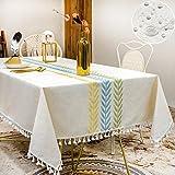 SUNBEAUTY Tischdecke Abwaschbar Tischtuch Baumwolle Leinen Tafeldecke Rechteckig wasserdichte Tischdecke Elegant 140x180 cm für Home Küche Speisetisch Dekoration
