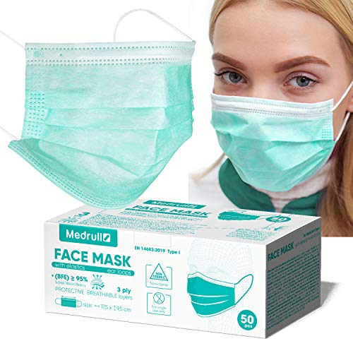 Maschere Facciali Monouso Medrull - Set da 50 pz - Certificazione CE - Maschere Chirurgiche 3 Strati - Anti Inquinamento...