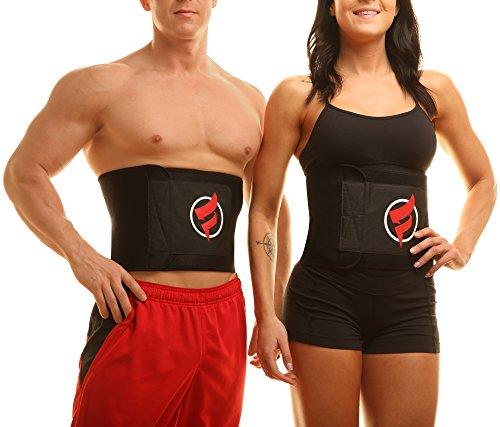 "Fitru Waist Trimmer Sauna Ab Belt for Men & Women - Waist Trainer Stomach Wrap (Black, 10"" X 50"") 2"